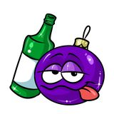 Christmas ball bottle alcohol drunk cartoon. Illustration isolated image character Royalty Free Stock Photos