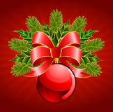 Christmas ball with bow Royalty Free Stock Photos