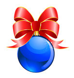 Christmas ball with bow Royalty Free Stock Photo