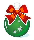 Christmas ball with bow. Green Christmas ball with bow isolated on a white background Royalty Free Stock Photography