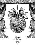 Christmas Ball with bow  and curtains  in Zen-tangle style black on white Royalty Free Stock Images
