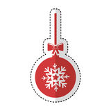 Christmas ball with bow hanging. Vector illustration design Stock Photography