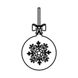 Christmas ball with bow hanging. Vector illustration design Stock Image