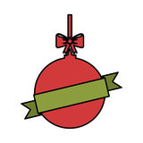 Christmas ball with bow hanging. Vector illustration design Royalty Free Stock Image