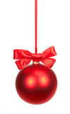 Christmas ball with bow isolated Stock Image