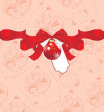 Christmas ball with bow on the seamless ornamental background Stock Images