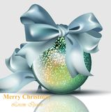 Christmas ball with bow shiny card Vector. Merry Christmas or Happy New Year backgrounds. Christmas ball with bow shiny card Vector. Merry Christmas or Happy New Stock Photos