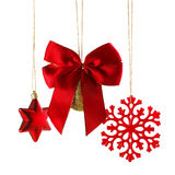 Christmas Ball With Bow, Star And Snowstar Royalty Free Stock Photos