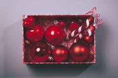 Christmas ball box on modern background Stock Photography