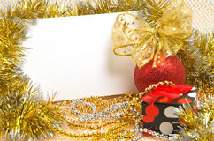 Christmas ball with box and postcard Stock Images