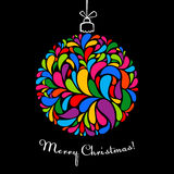 Christmas ball with bright elements on black stock illustration