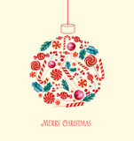 Christmas ball with candies. Royalty Free Stock Photo