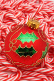 Christmas Ball on Candy Canes Royalty Free Stock Photo