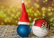 Christmas ball with caps, beautiful sparkling background, new year 2018.  Royalty Free Stock Photos