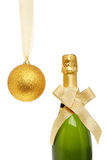 Christmas ball and champagne Royalty Free Stock Photo