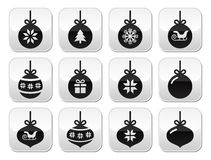 Christmas ball, christmas bauble  buttons set Royalty Free Stock Images