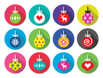 Christmas ball, Christmas bauble flat design icons Stock Photography