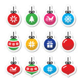 Christmas ball, christmas bauble  icons set Stock Images