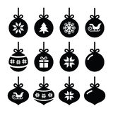 Christmas ball, christmas bauble  icons set Stock Photos