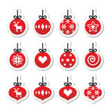 Christmas ball, christmas bauble  red icons set. Winter holiday labels set of christmas tree balls isolated on white Stock Images