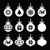 Christmas ball, Christmas bauble white icons on black Royalty Free Stock Image