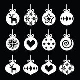 Christmas ball, Christmas bauble white icons on black Stock Photography