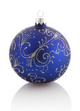 Christmas ball (christmas ornament ). blue color. Isolated . Christmas ball (christmas ornament ). blue color. Isolated over white stock photography
