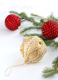 Christmas ball and Christmas tree Royalty Free Stock Photo