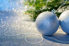 Christmas Ball on a Christmas Tree Background Stock Image