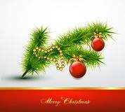 Christmas ball on christmas tree branch. Vector Royalty Free Stock Image