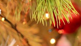 Christmas Ball and Christmas Tree. Decoration. Bright led lights stock video
