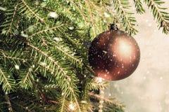 Christmas ball on a Christmas tree. Falling snowflakes Stock Image