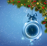 Christmas ball clock. In five minutes the new year. Background new year Stock Image