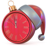 Christmas ball clock New Year`s Eve midnight hour countdown Stock Image