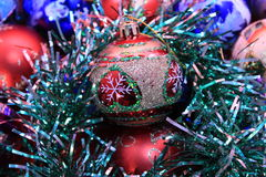Christmas ball close-up. On the background of Christmas toys Royalty Free Stock Image