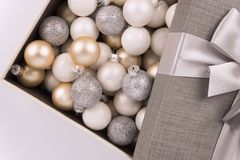Christmas ball collection in a box. Directly above. royalty free stock photos