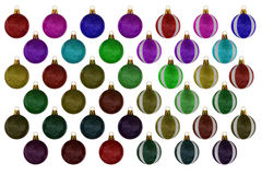 Christmas ball collection on white background Royalty Free Stock Photo