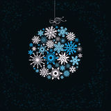 Christmas ball from colored snowflakes. Stock Photo