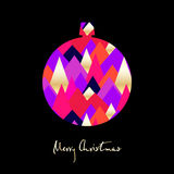 Christmas ball with colored triangles on black background. Merry Christmas card. Vector illustration Stock Photography