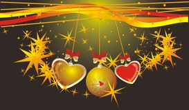 Christmas ball and colorful hearts. Background for Stock Photo