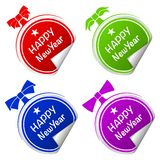 Christmas ball colorful stickers set Royalty Free Stock Image