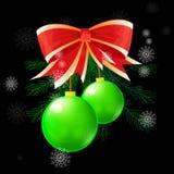 Christmas ball concept. Two green christmas ball on black background, christmas ball concept Royalty Free Stock Image