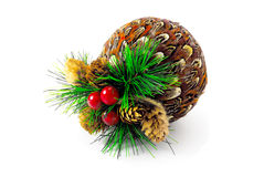 Christmas-ball with cones and cranberries Royalty Free Stock Image