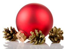 Christmas ball and cones Stock Photography