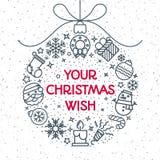 Christmas ball consisting of christmas icons line style vector illustration