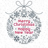 Christmas ball consisting of christmas icons line style and sign vector illustration