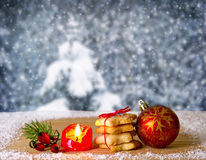 Christmas ball and cookies isolated . Royalty Free Stock Photos