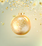 Christmas ball with curves. Of ribbon confetti. Vector illustration Royalty Free Stock Photos
