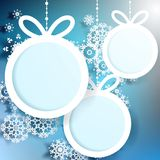 Christmas ball cut from paper on blue. EPS 10 Royalty Free Stock Image