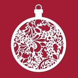 Christmas ball. Cut template. Template for Christmas cards, invitations for Christmas party. Image suitable for laser cutting, plotter cutting or printing vector illustration